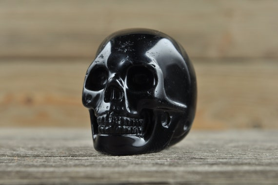 Natural Realistic Black Obsidian Crystal Skull, 2 inch!