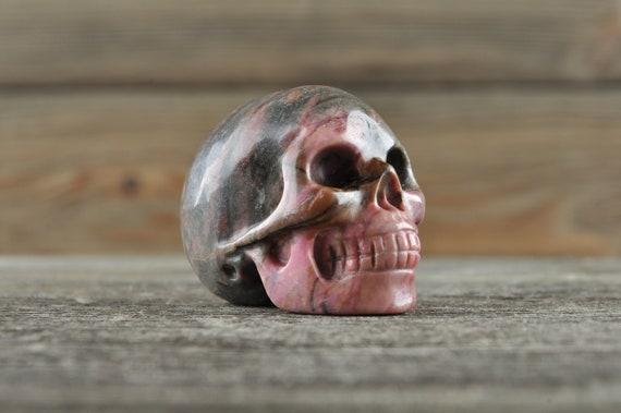 Natural Realistic Rhodonite Crystal Skull, Mini!