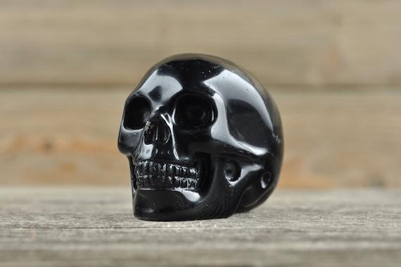Natural Realistic Black Obsidian Crystal Skull, 2 inch!