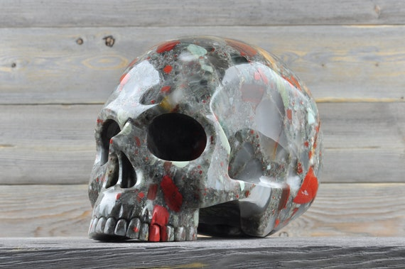 Natural Super Realistic African Bloodstone Crystal Skull, TITAN!