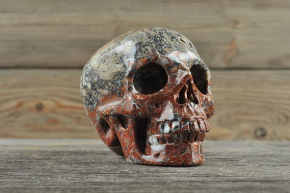 Natural Realistic Black Crazy Lace Agate Crystal Skull, Medium