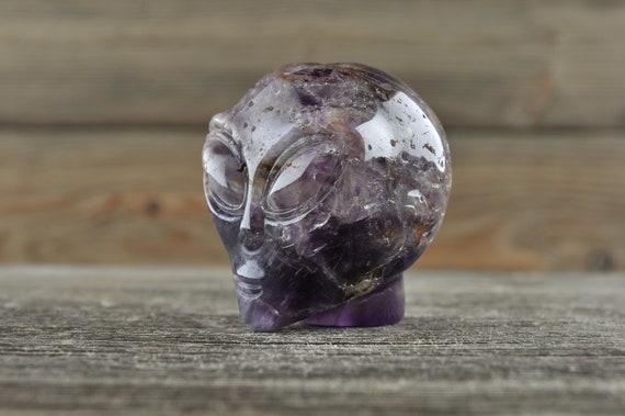 Natural Realistic Chevron Amethyst Alien Crystal Skull, Mini!