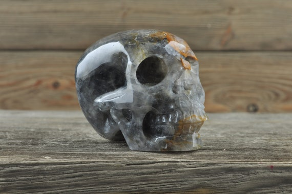 Natural Realistic Grey Quartz Crystal Skull, Medium