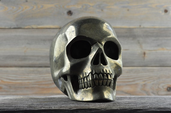 Natural Super Realistic Iron Pyrite Crystal Skull, Large