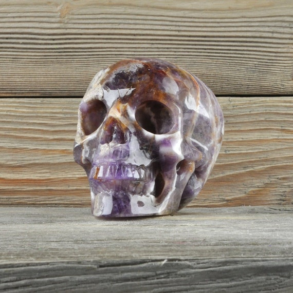 Natural Realistic Chevron Amethyst Crystal Skull, Medium