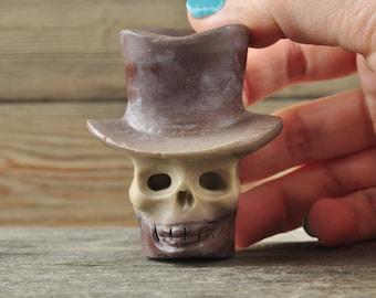 Cute Striped Brown Jasper Skull with Top Hat!, Skull Decor, Gothic Home Decor, Memento Mori, Goth Decor,, Crystal Decor