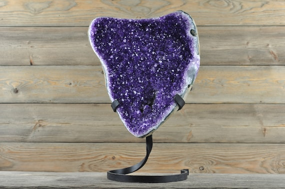 Semi-Polished Uruguayan Amethyst Geode ONE OF A KIND, show piece, comes with Custom Iron Stand!