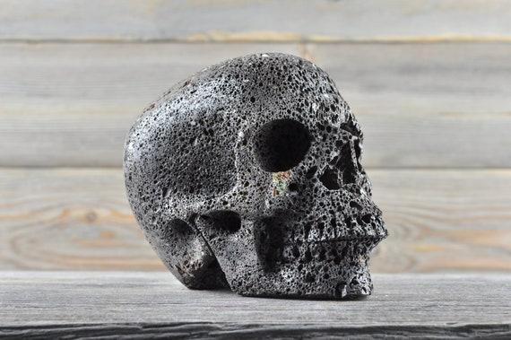 Natural Realistic Lava Rock Crystal Skull, Large