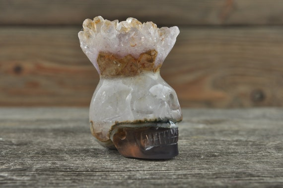 Beautiful Natural Quartz and Banded Agate Geode Crystal Mini Skull!