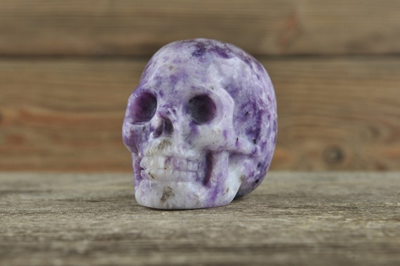 Natural Gorgeous Lepidolite Crystal Skull, 2 inches!