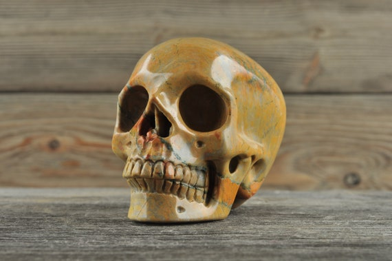 Natural Realistic Jasper Crystal Skull, Medium!