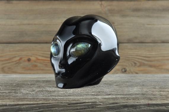 Natural SilverSheen Obsidian w Labradorite Eyes Alien Starbeing Crystal Skull, 3 inches!