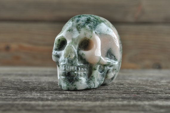 Natural Moss Agate Geode Crystal Skull, Mini