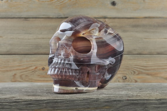 Amazing HOLLOWED Banded Fluorite Crystal Skull! One of a kind!!