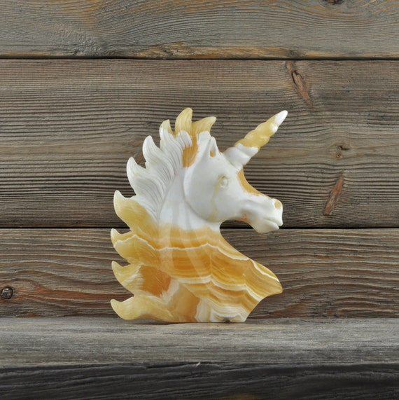 Beautiful Hand Carved Yellow Calcite Unicorn!!