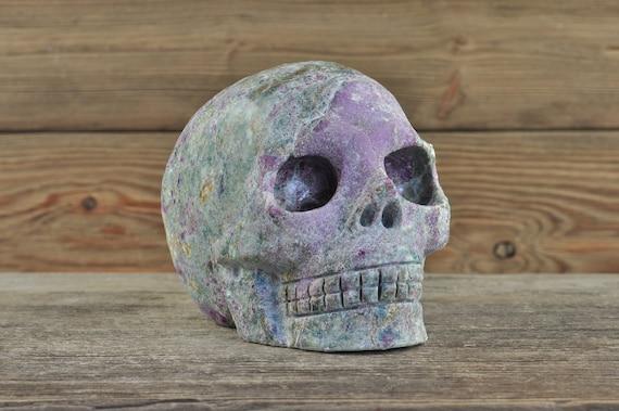 Ruby Kyanite Crystal Skull, Halloween Decor, Skull Decor, Gothic Home Decor, Memento Mori, Goth Decor, Crystal Decor