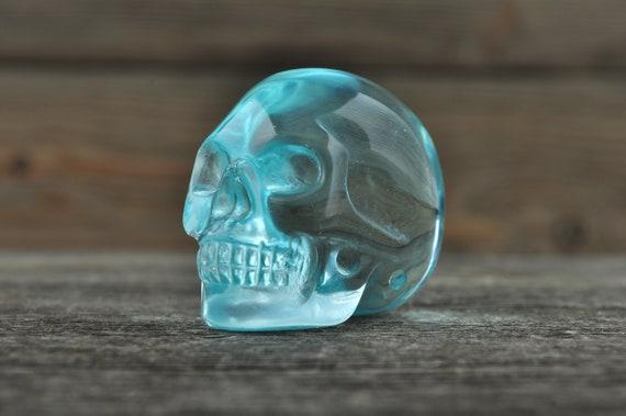 Beautiful Blue Obsidian Skull, Mini WOUNDED WARRIOR