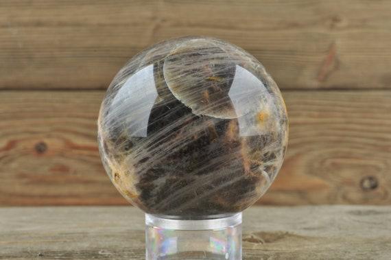 Black Moonstone Sphere, Crystal, Moonstone, Crystal Sphere, Halloween Decor, Goth Decor, Crystal Decor