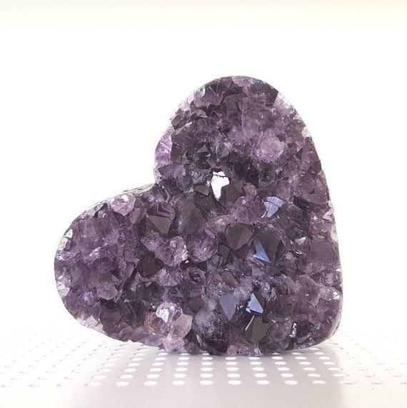 Beautiful A Quality Semi-Polished Uruguayan Amethyst Heart HRT2-007
