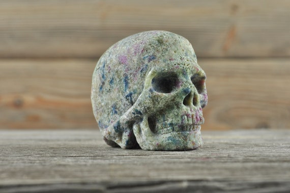 Natural Ruby and Kyanite In Zoisite Crystal Skull, Mini