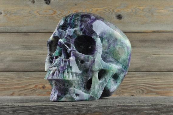 XL Deep Colored Rainbow Banded Fluorite Crystal Skull! Huge!