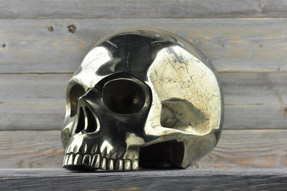 Natural Super Realistic Iron Pyrite Crystal Skull, TITAN!