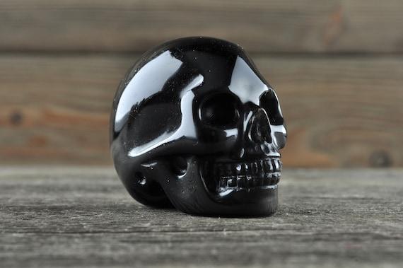 Natural Realistic Black Obsidian Crystal Skull, Mini!