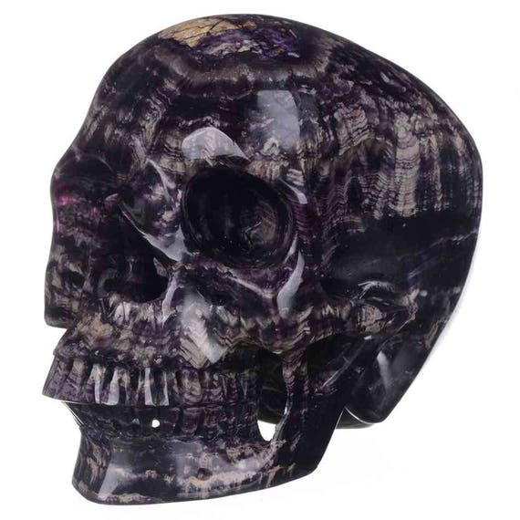 Amazing Banded Fluorite Crystal Skull, HUGE!