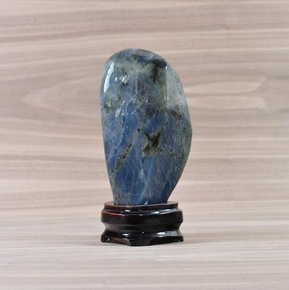 Beautiful Flashy Labradorite Crystal on Wooden Stand