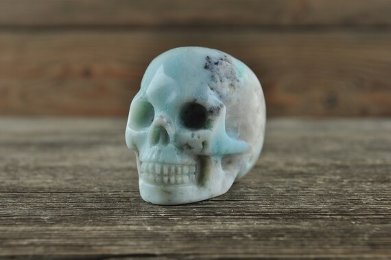 Natural Realistic Amazonite Crystal Skull, 2 inches!