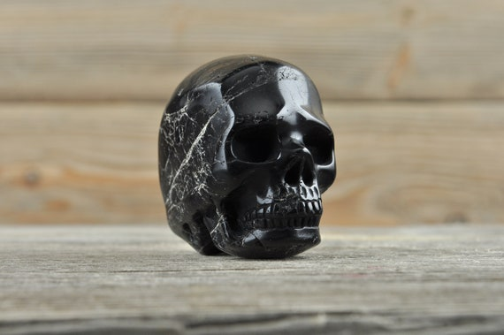 Natural Realistic Black Tourmaline Crystal Skull, Mini!