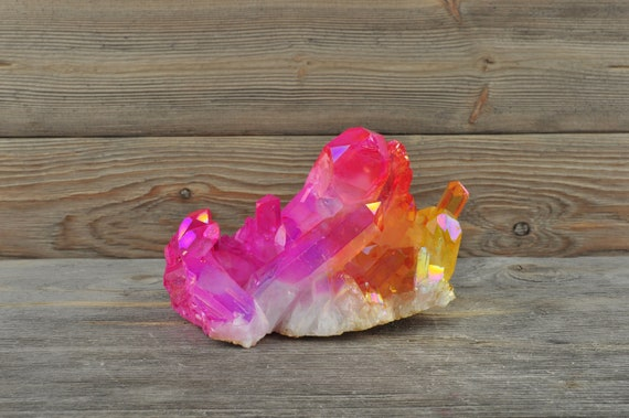 Beautiful Sunshine Yellow & Pink Aura Quartz!