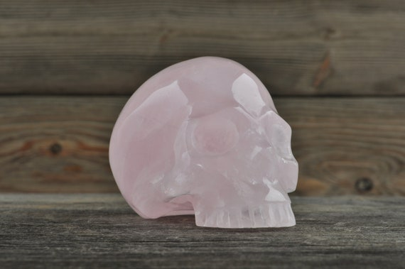 Natural Super Realistic Rose Quartz Crystal Skull, Medium
