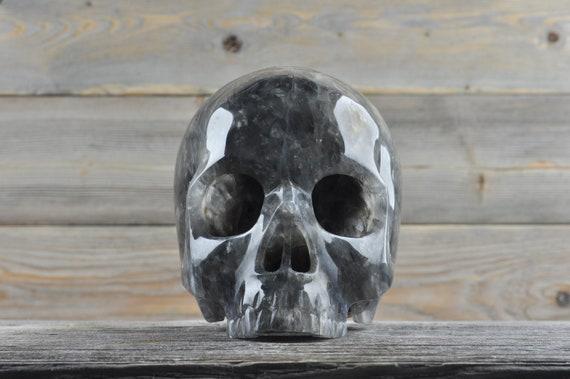 Natural Super Realistic Grey Quartz Crystal Skull, Large