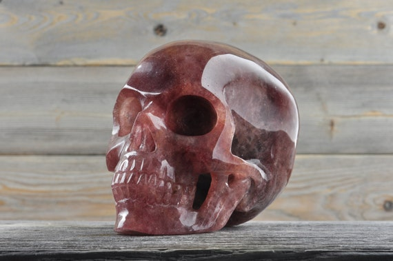 Natural Super Realistic Cherry Quartz Crystal Skull, Large