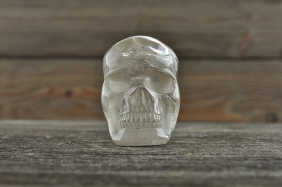 Natural Realistic Clear Quartz Crystal Skull, Mini!