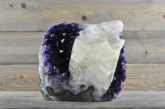 AA Quality, Unique Uruguayan Polished Amethyst Cluster with huge Calcite! PL1-029