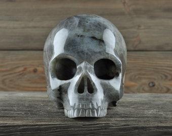 Labradorite, Crystal Skull, Large, Halloween Decor, Skull Decor, Gothic Home Decor, Memento Mori, Goth Decor, Crystal Decor