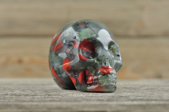 Natural Bloodstone Crystal Skull, 2 inch!