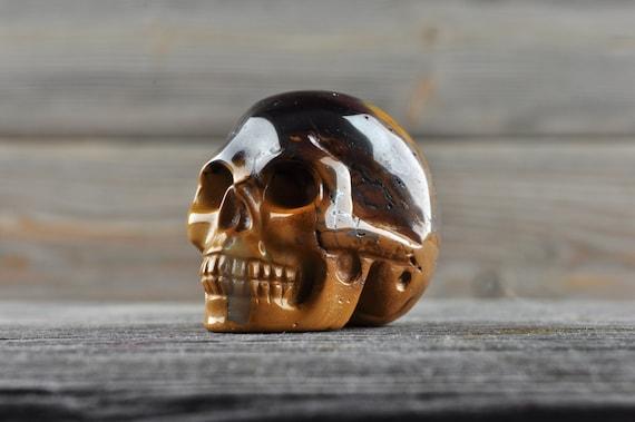 Natural Tiger Iron Crystal Skull, Mini