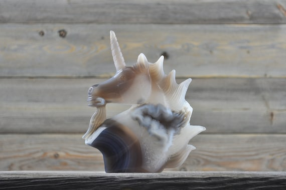 Beautiful Hand Made Banded Agate Quartz Geode Unicorn!!