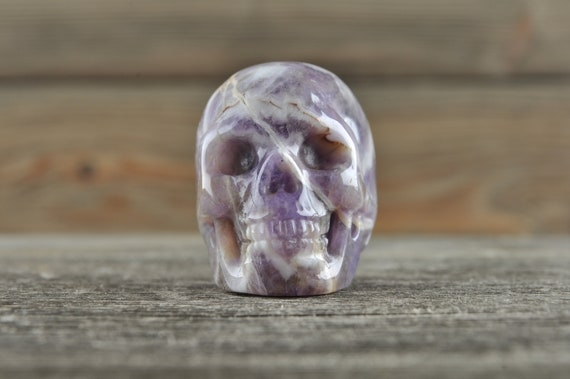 Natural Realistic Chevron Amethyst Crystal Skull, Mini!