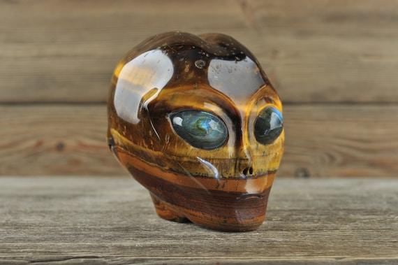 Natural Tiger Iron w Labradorite Eyes Alien Starbeing Crystal Skull, 3 inches!