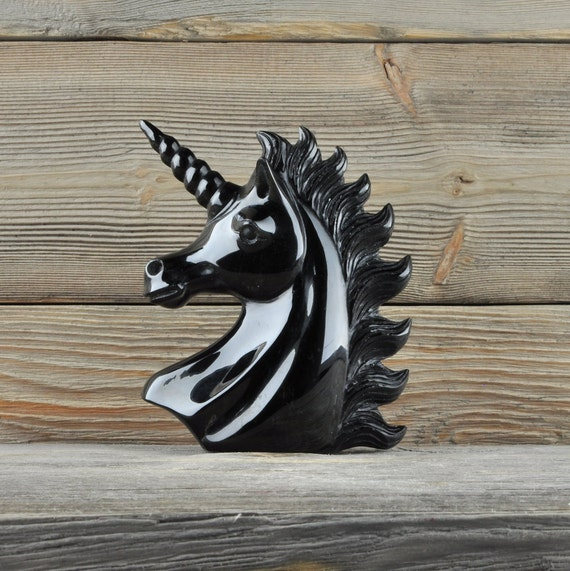 Beautiful Hand Carved Black Obsidian Unicorn!!