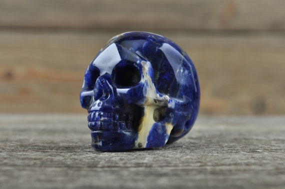 Natural Sodalite Crystal Skull, Mini WOUNDED WARRIOR