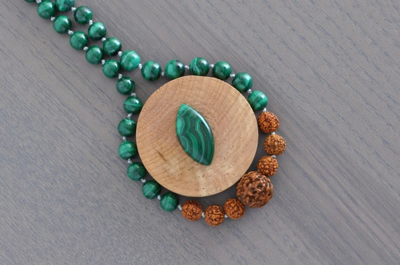 Malachite + 5 Muhki Rudraksha Zodiac Necklace