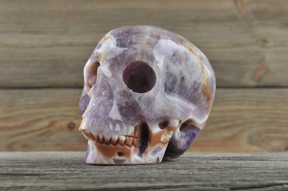 Natural Realistic Chevron Amethyst Crystal Skull, Medium