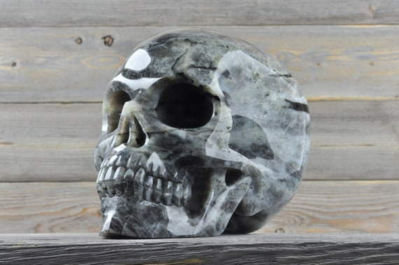 Natural Super Realistic Labradorite Crystal Skull, TITAN