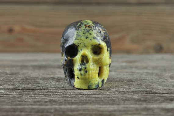 Natural Yellow Turquoise Crystal Skull, Mini
