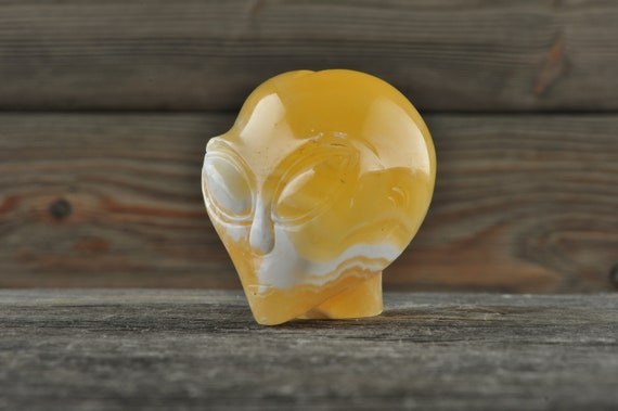 Natural Realistic Yellow Calcite Alien Crystal Skull, Mini!